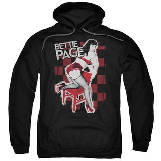 Bettie Page/Over A Chair Adult Pull-Over Hoodie in Black