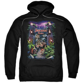 Jurassic Park/Welcome To The Park Adult Pull-Over Hoodie in Black