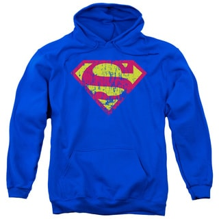 Superman/Classic Logo Distressed Adult Pull-Over Hoodie in Royal Blue