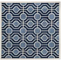 Safavieh Indoor/ Outdoor Amherst Light Blue/ Navy Rug - 7' Square