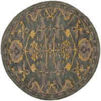Safavieh Handmade Bella Blue Grey/ Gold Wool Rug - 5' x 5' round