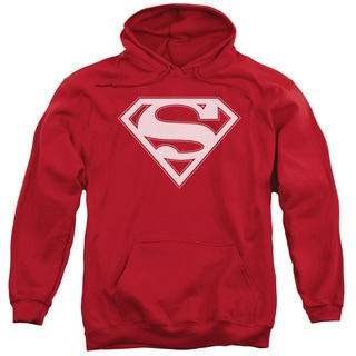 Superman/Red White Shield Adult Pull-Over Hoodie in Red