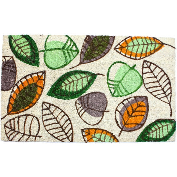 J & M Home Fashions 'Harvest Leaves' 18-inch x 30-inch Vinyl Back Doormat