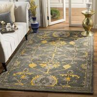 Safavieh Handmade Bella Blue Grey/ Gold Wool Rug - 5' x 5' square