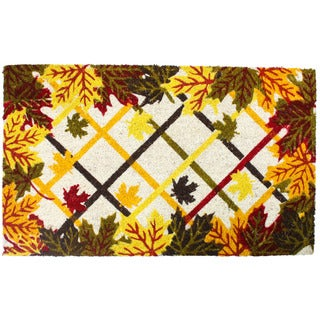 J & M Home Fashions Harvest Lattice and Leaves Vinyl-back 18-inch x 30-inch Doormat