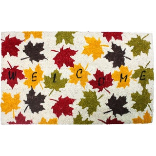 J & M Home Fashions 'Harvest Welcome' Leaf Pattern 18-inch x 30-inch Doormat With Vinyl Back