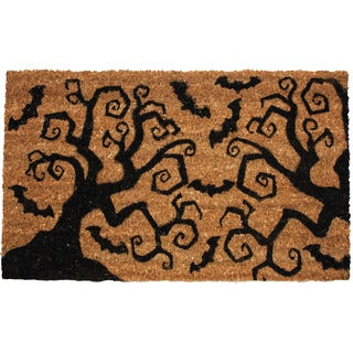 J & M Home Fashions 'Halloween Bats & Trees' 18-inch x 30-inch Doormat With Vinyl Back