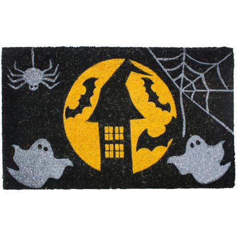 J & M Home Fashions Halloween Full Moon Vinyl Back Coco Doormat (18 x 30)