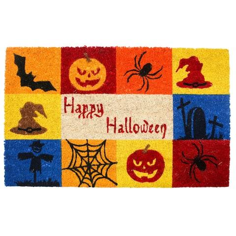 J & M Home Fashions Happy Halloween Vinyl Back Coco Doormat 18in x 30in