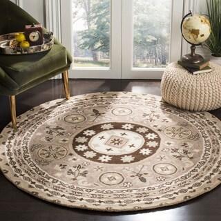 Safavieh Handmade Bella Taupe/ Light Grey Wool Rug (5' Round)