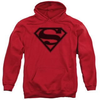 Superman/Red Black Shield Adult Pull-Over Hoodie in Red