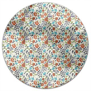 Folklore Flowers On Vases Round Tablecloth