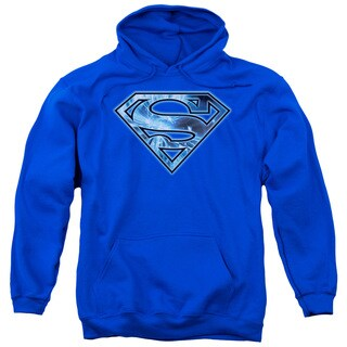 Superman/On Ice Shield Adult Pull-Over Hoodie in Royal Blue