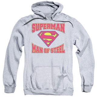 Superman/Man Of Steel Jersey Adult Pull-Over Hoodie in Athletic Heather