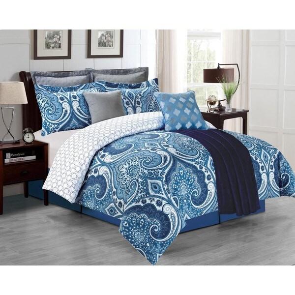 Fall River Navy 8-Piece Comforter Set