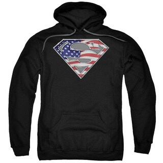 Superman/All American Shield Adult Pull-Over Hoodie in Black