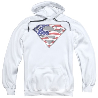 Superman/All American Shield Adult Pull-Over Hoodie in White