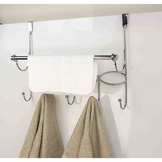 Home Basics Chrome Over The Door Hooks And Towel Rack