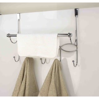 Home Basics Chrome Over-the-door Hooks and Towel Rack