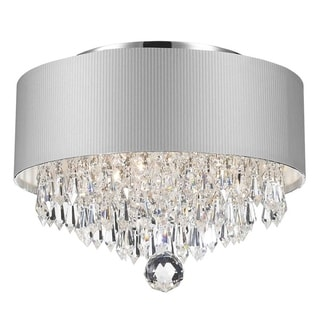 Contemporary Modern 3-light Chrome Finish and Crystal Ball Prism Medium Chandelier with White Acrylic Drum Shade Small