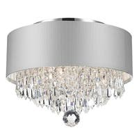 Modern Elegance 3-light Chrome Finish and Crystal Ball Prism Medium Chandelier with Small White Acrylic Drum Shade