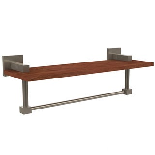 Allied Brass Montero Collection 16-Inch Solid IPE Ironwood Shelf with Integrated Towel Bar