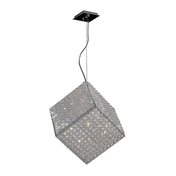 Cube Geometric Modern Pendant 6-light Halogen Chrome Finish and Clear Crystal
