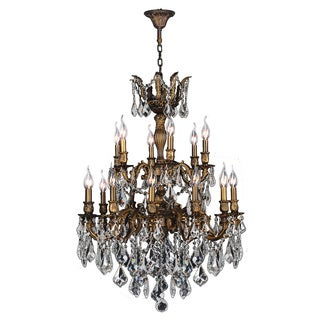French Imperial Collection 18-light Antique Bronze Finish and Clear Crystal Chandelier