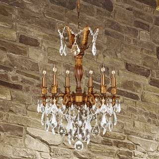 French Imperial Collection 6-light French Gold Finish and Clear Crystal Chandelier