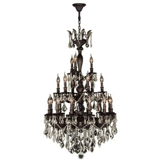 French Imperial Collection 21 Light Flemish Brass Finish And Golden Teak  Crystal Chandelier