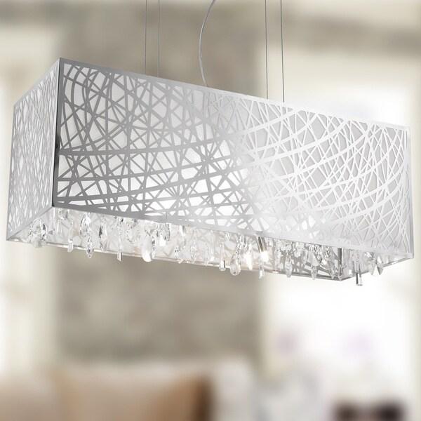 Crystal Pendant Lighting Fabric Shade Rectangle : High gloss modern light halogen chrome finish rectangle