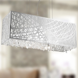 High Gloss Modern 8-light Halogen Chrome Finish Rectangle Drum Shade with Clear Crystal Chandelier