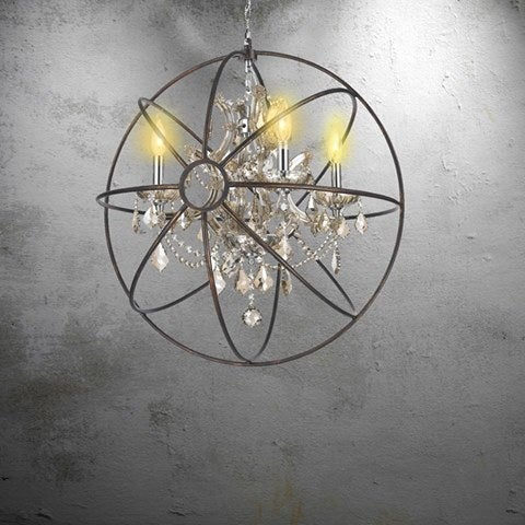 Foucault's Orb Chandelier 4 Light, Chrome Finish and Golden Teak Crystal with Flemish Brass Cage