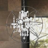 Foucault's Orb Chandelier 4-light Chrome Finish and Clear Crystal with Flemish Brass Cage