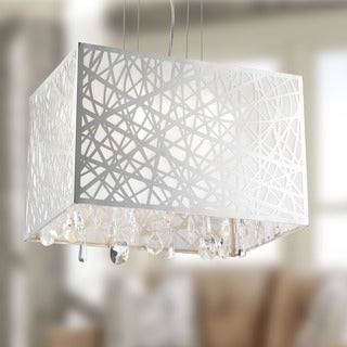 High Gloss Modern 4-light Chrome Finish Rectangle Drum Shade with Clear Crystal Chandelier