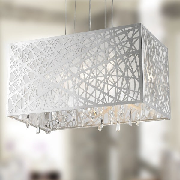 High Gloss Modern 4-light Halogen Chrome Finish Rectangle Drum Shade with Clear Crystal Chandelier