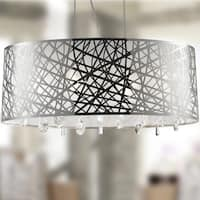High Gloss Modern 6 Light Chrome Finish Oval Drum Shade with Clear Crystal Chandelier