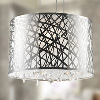 High Gloss Modern 4-light Halogen Chrome Finish Oval Drum Shade with Clear Crystal Chandelier