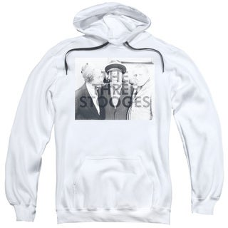 Three Stooges/Cutoff Adult Pull-Over Hoodie in White