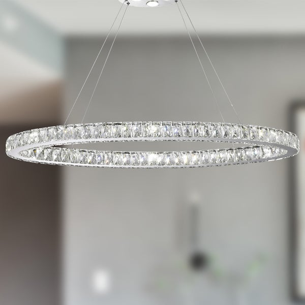 Galaxy 20 led light chrome finish and clear crystal oval ring galaxy 20 led light chrome finish and clear crystal oval ring chandelier aloadofball Choice Image