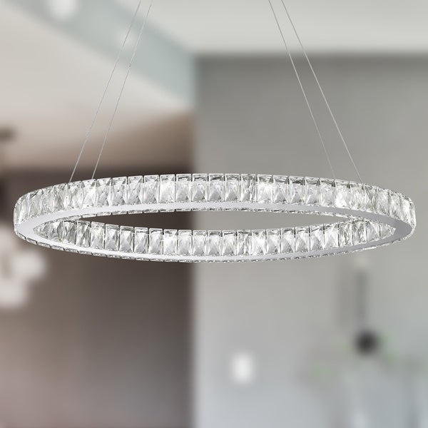 Galaxy 14 led light chrome finish and clear crystal oval ring galaxy 14 led light chrome finish and clear crystal oval ring chandelier aloadofball Images