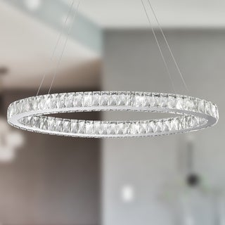 Galaxy 14 LED-light Chrome Finish and Clear Crystal Oval Ring Chandelier