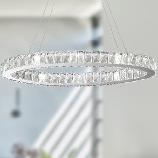 Galaxy 12 LED-light Chrome Finish and Clear Crystal Oval Ring Chandelier