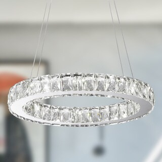 Galaxy 10-light LED Chrome Finish and Clear Crystal Oval Ring Chandelier