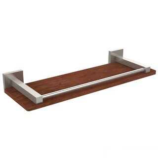Montero Collection Black, Brass, Bronze, Chrome, Copper, Nickel, Pewter Brass and Wood 16-inch Wall Shelf With Gallery Rail