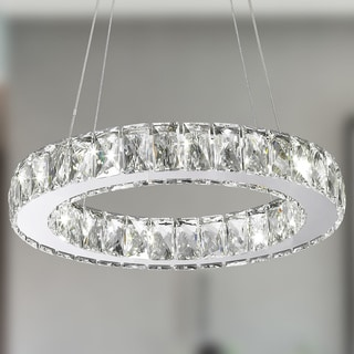 Galaxy 9-light LED Chrome Finish and Clear Crystal Circular Ring Chandelier