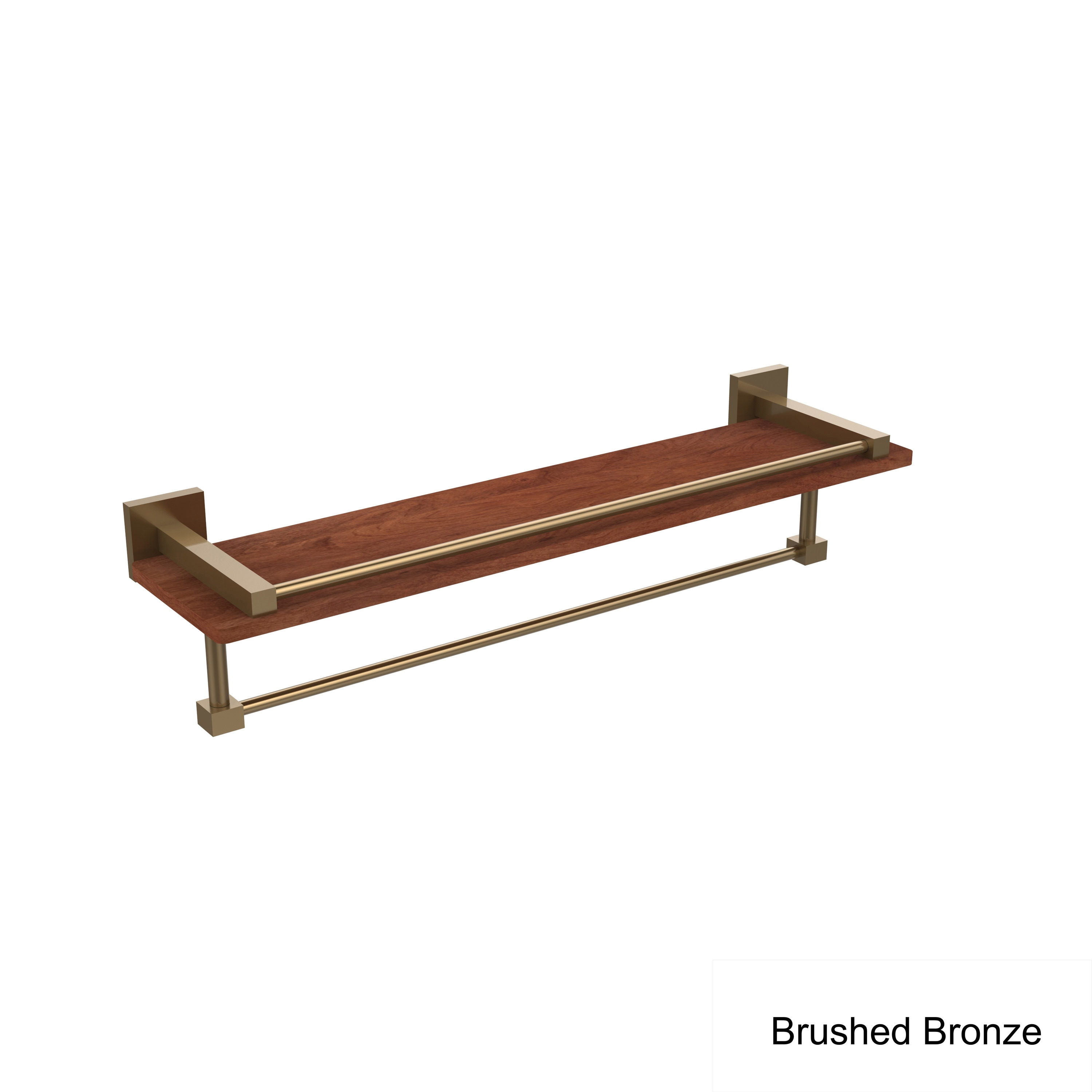 Montero Collection Brass Wood 22 Inch Wall Shelf With Rail And Towel Bar Overstock 11862002