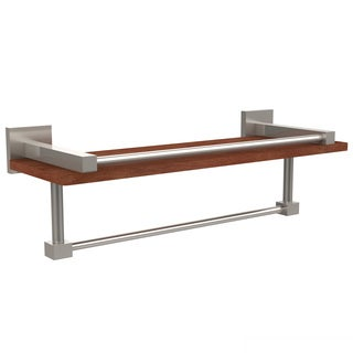 Allied Brass Montero Collection Clear IPE Ironwood 16-inch Shelf with Gallery Rail and Towel Bar