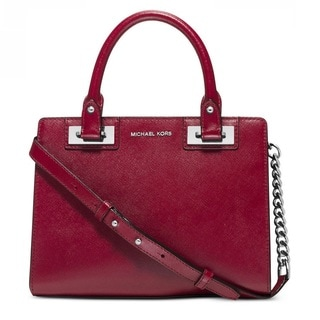 Michael Kors Quinn Small Cherry Patent Saffiano Satchel Handbag