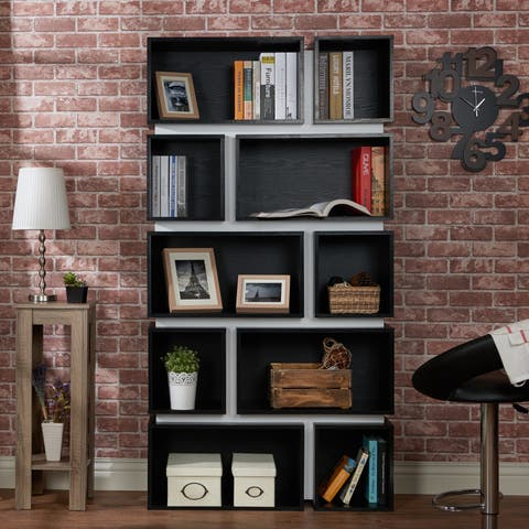 Furniture of America Pella Contemporary 2-tone 10-shelf Bookcase